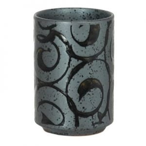 Black Karakusa Waves Sake Cup