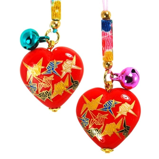 Heart with Origami Cranes Charm