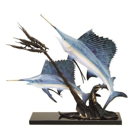 Sailfish Feeding Time Brass Statue