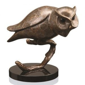 Perched Owl Brass Statue