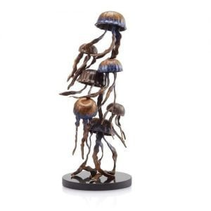 Seven Jellyfish Family Brass Statue