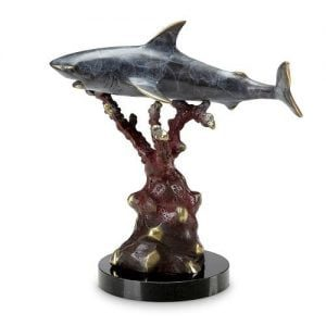Great White Shark Brass Statue