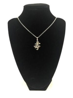 Long Life Kanji Silver Necklace