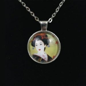 Japanese Geisha Charm Necklace