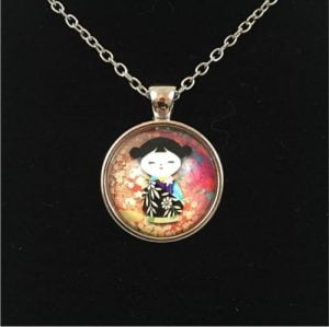 Kokeshi Doll Charm Necklace
