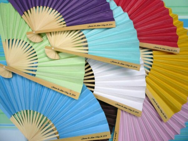 Personalized Colored Paper Folding Fans