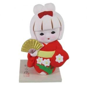 Red Hakata Doll Gold Fan