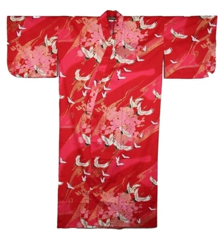 Red Kimono With Pink Flowers And Cranes