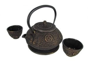 Round Coin Tetsubin Cast Iron Teapot Set