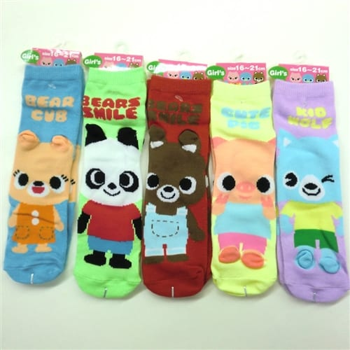 Cute Bear Pig and Wolf Socks