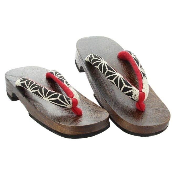 Sandals Wooden Red & White Star Womens