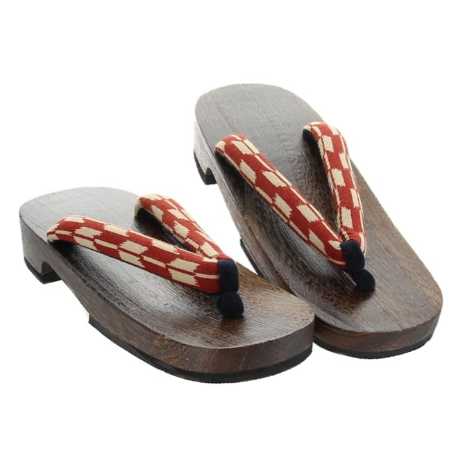 Sandals Wooden Red & White Womens