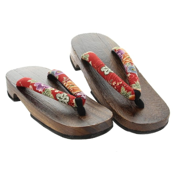 Wooden Geta Multi Flowers Womens